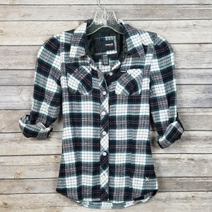 Hurley Girls Button Down Plaid Flannel